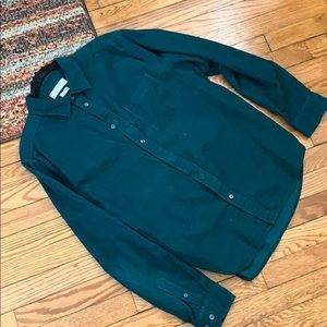 Urban Outfitters Corduroy Teal Button Down Shirt